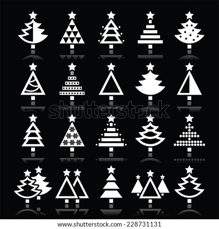 Christmas tree white icons set isolated on black - stock vector