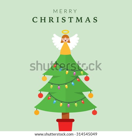 Christmas Tree with Angel on top - stock vector