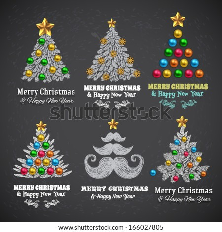Christmas Tree with Balls and Gifts, vector design. Chalkboard paint. - stock vector