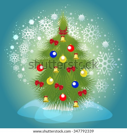 Christmas tree with balls, bells and ribbons on a background of a blizzard. EPS10 vector illustration. - stock vector