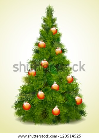 Christmas tree with balls, vector illustration - stock vector