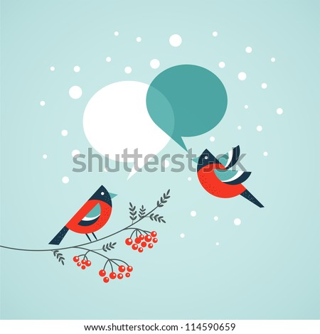 Christmas tree with birds and speech bubbles - stock vector