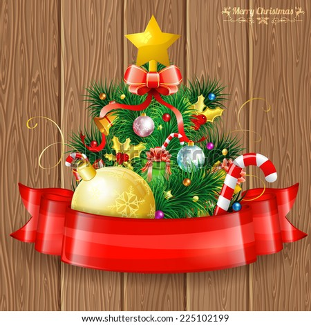 Christmas Tree with Candy, Fir Branches, Mistletoe and Gift in Red Ribbon on Wooden Boards background, vector illustration. - stock vector