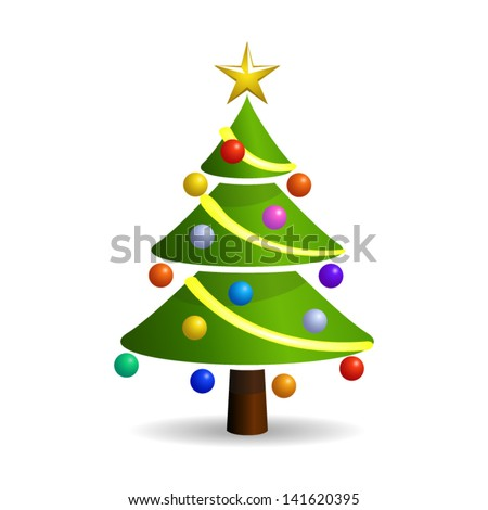 Christmas tree with Christmas toys - icon isolated on white background. Vector. - stock vector