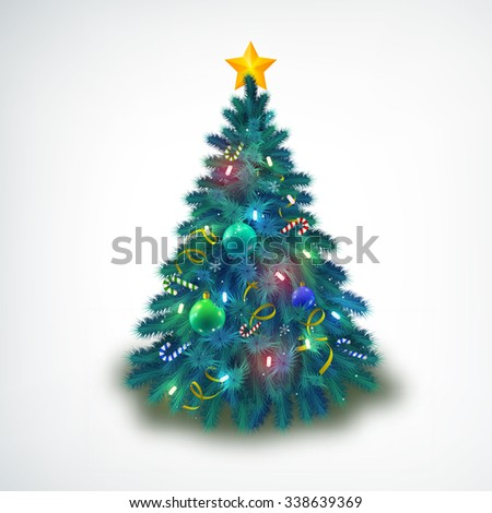 Christmas tree with colorful baubles and gold star on the top. Glowing festive object with light beams and sparks isolated on the white background. Vector Illustration, eps10, contains transparencies. - stock vector