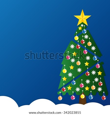 Christmas tree with colorful ornaments and glod star on white snow in night light blue background. Vector illustration. - stock vector