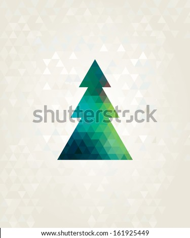 christmas tree with colorful triangle diamonds - stock vector