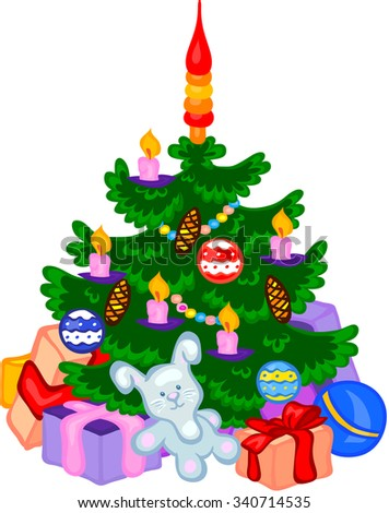 Christmas tree with cones, balls, garlands and gifts. Vector illustration - stock vector