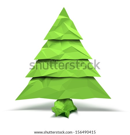 Christmas tree with crumpled paper effect - stock vector