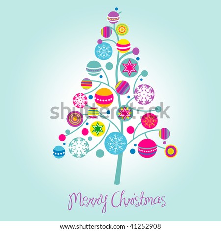 Christmas tree with cute and colorful decorations - stock vector