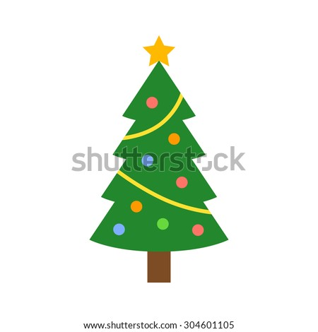 Christmas tree with decorations & star flat icon for apps and websites - stock vector