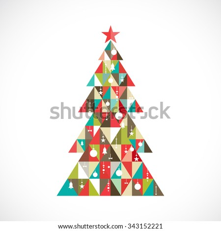 Christmas tree with geometric graphic decorate, vector illustration - stock vector
