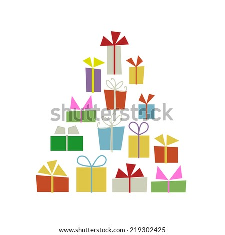 Christmas tree with gift boxes for your design - stock vector