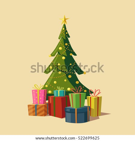 Christmas tree with gifts. Cartoon vector illustration. Star, decoration balls and light bulb chain. Isolated background. Happy New Year, Merry christmas
