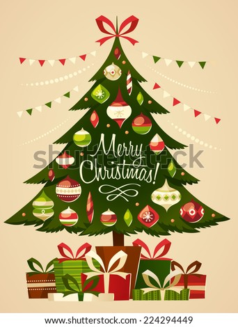 Christmas tree with gifts. Christmas card. - stock vector