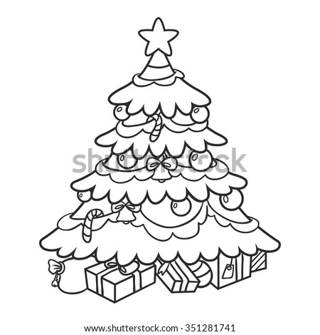 Christmas tree with gifts. coloring book - stock vector