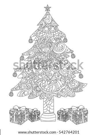 Christmas Tree Gifts Coloring Book Vector Stock Vector 542764201 ...