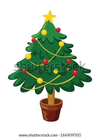 Christmas tree with glowing star and decorations - stock vector
