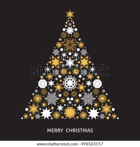 Christmas Tree With Gold And White Snowflakes Xmas Elements Decorations On Black Background