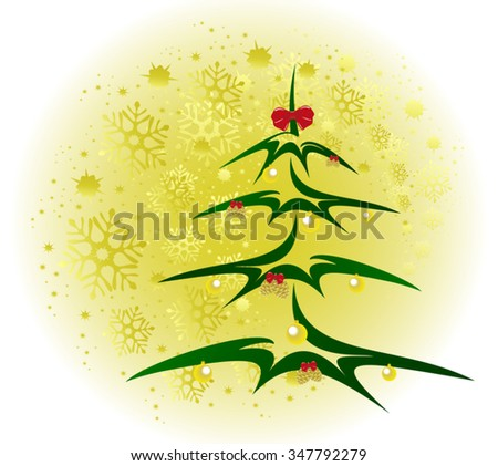 Christmas tree with golden balls and cones background with snowflakes. EPS10 vector illustration. - stock vector