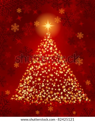 Christmas tree with lights and snowflakes - stock vector