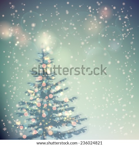 Christmas tree with Lights. Festive Christmas and New year Background. Vector illustration - stock vector