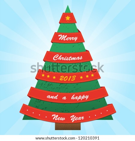 Christmas tree with red ribbons. Vector illustration. Merry christmas and a happy hew year card.