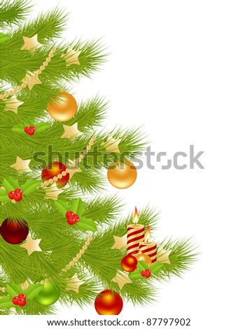 Christmas tree with simple decoration. Isolated on a white. Vector illustration. - stock vector