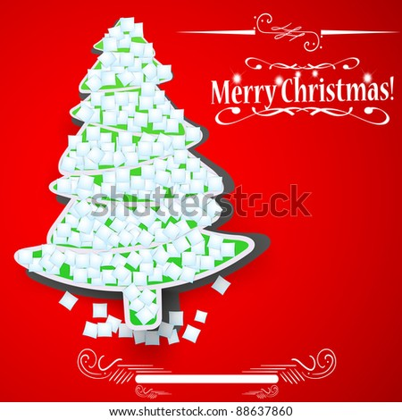 Christmas tree with snowflakes on red background, vector illustration - stock vector