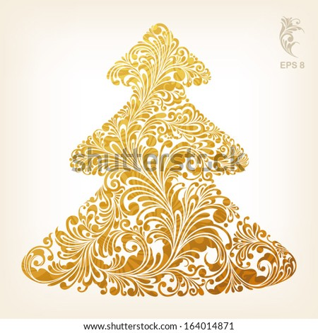 christmas tree with stylish gold ornament, vector illustration - stock vector