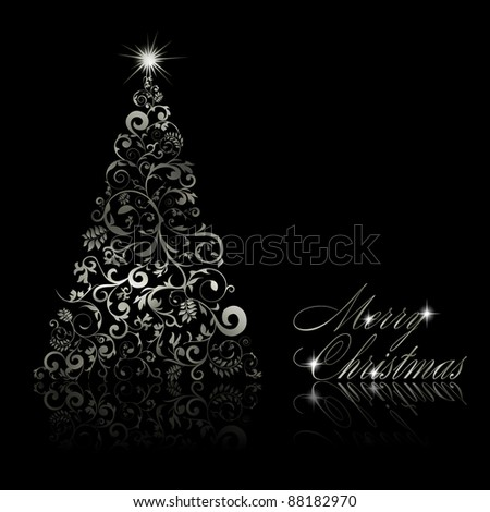 Christmas tree with swirls and floral elements on black background. Vector eps10 illustration - stock vector