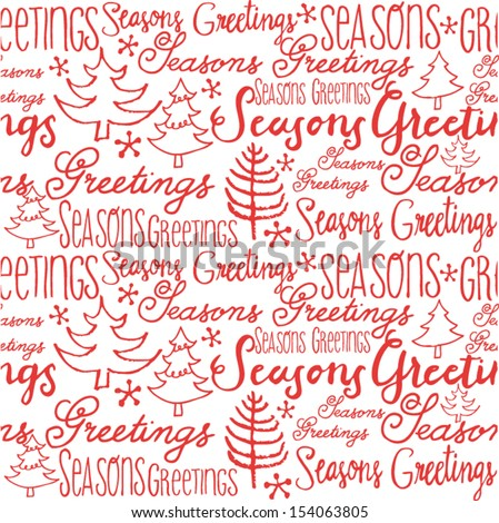 Christmas trees and words seamless vector background - stock vector