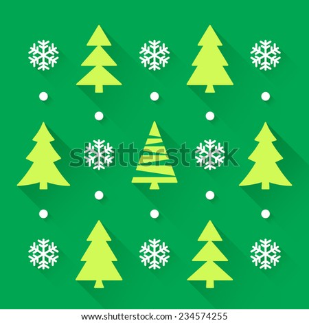 Christmas trees collection with green background - stock vector