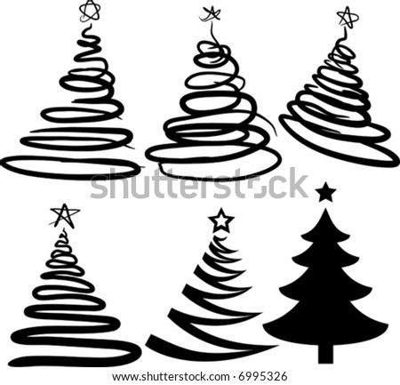 Christmas-trees contains fill only. All curves are discoloured. Vector illustration. - stock vector