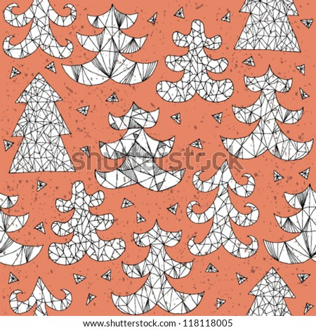 Christmas Trees Greeting Card ... Collection of different trees; seamless repeated pattern ... in red! - stock vector