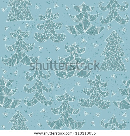Christmas Trees Greeting Card ... Collection of different trees; seamless repeated pattern ... In blue! - stock vector