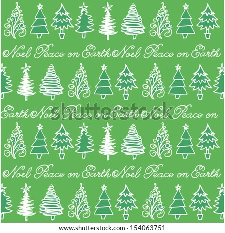 Christmas trees in row seamless vector background - stock vector