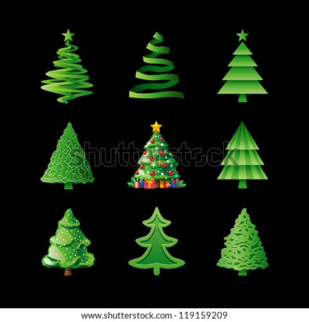 Christmas Trees On Black - stock vector