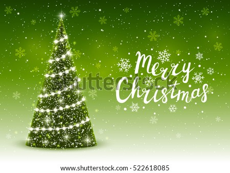 Christmas trees on shiny green background