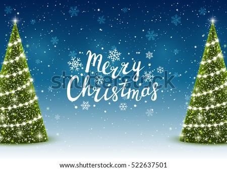 Christmas trees on shiny night background