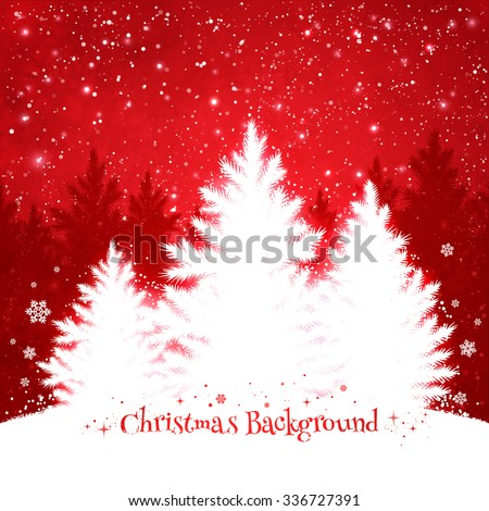 Christmas trees red and white background with falling snow and spruce forest silhouette. - stock vector