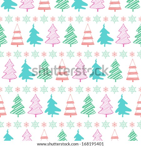 Christmas trees seamless pattern - stock vector