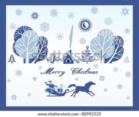 Christmas trees, snowflakes and Santa Claus - stock vector