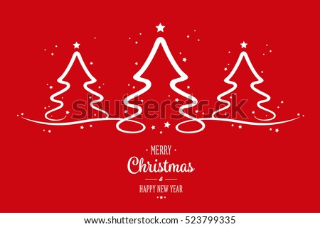 christmas trees stars red background