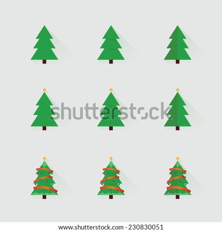Christmas trees vector set. - stock vector