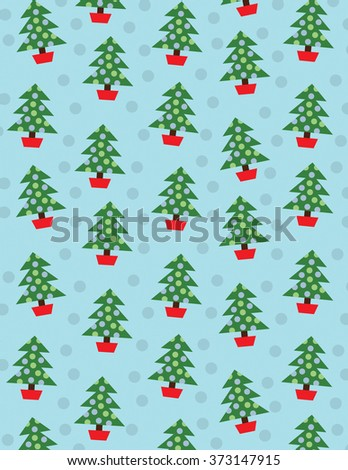 Christmas trees with decorations over solid blue background - stock vector
