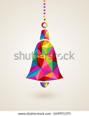Christmas trendy hanging bell bauble made with colorful triangles composition. EPS10 vector file organized in layers for easy editing. - stock vector