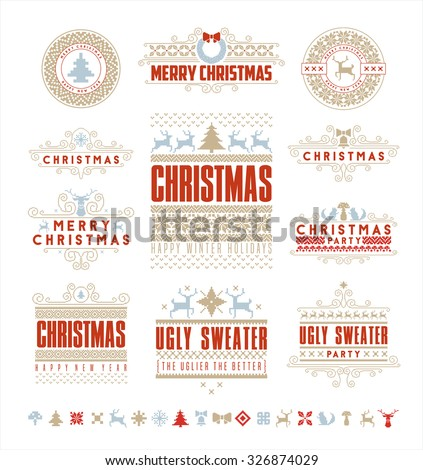 Christmas Typographic and Calligraphic elements, vintage labels, frames with Merry Christmas and Happy Holidays wishes.  - stock vector