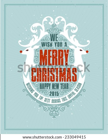 Christmas Typographic and Calligraphic frame with Merry Christmas and Happy Holidays wishes. - stock vector