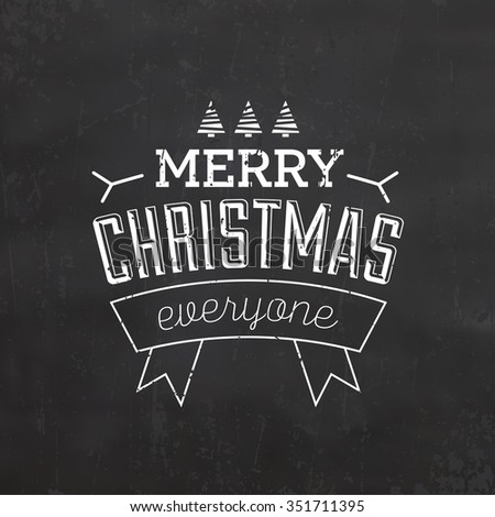 Christmas Typographic Background / Retro Design / Merry Christmas - stock vector